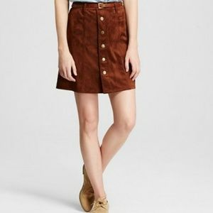 Mossimo Faux Suede Button Front Skirt